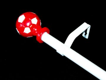 1.2m - 2.1m Extendable Eyelet Curtain Pole with Red & White Football Finials